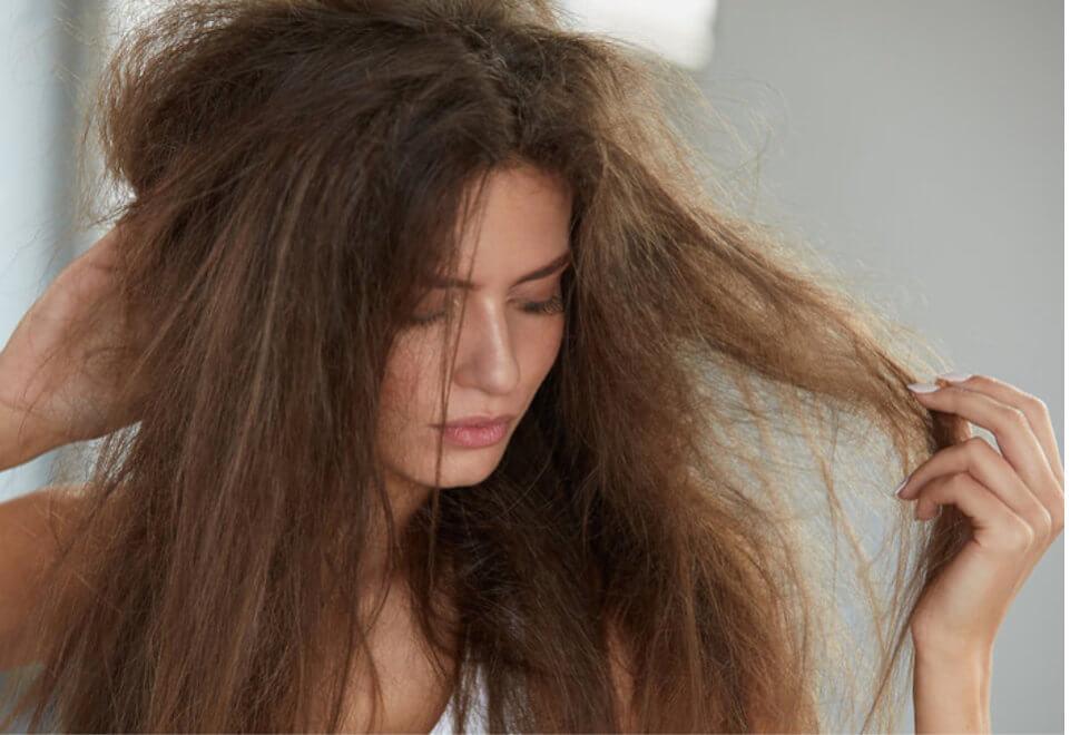 sucha skóra i zniszczone włosy
